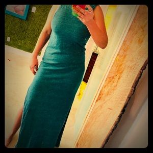 Long dark teal dress